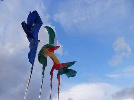 Flags, Spain, Europe, Wave, Andalusia, Nationality, Sky