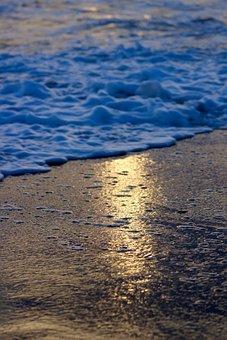 Sun, Beach, Wave, Sea, Sand, Sunset, Reflection, Waves