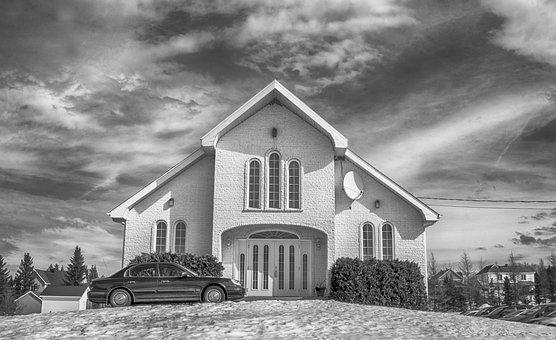 Church, Black And White, B W, Hdr, Cloudy