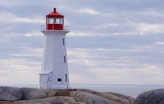 Lighthouse, Nova Scotia, Canada, Ocean, Blue, Maritime