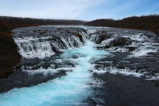 Bruarafoss, Iceland, Waterfall, Turquoise, Blue Water