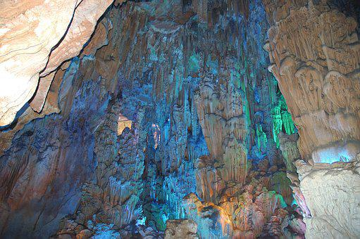 China, Cave, Travel, Tourism, Color, Blue