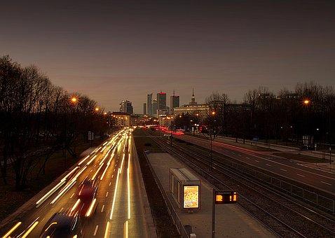 Warsaw, City, Street, Traffic, Night, Sunset