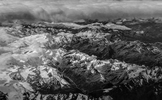 Aerial View, Cloud Front, Alpine, Mountains, Sky