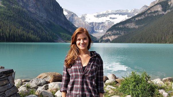 Lake Louise, Pretty Girl, Tour, Tourist, Mountain