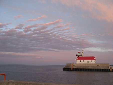 Lighthouse, Duluth, Lake, Superior, Harbor, Beacon