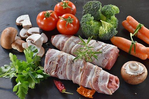 Pig, Pork, Pork Tenderloin, Rice, Mushrooms