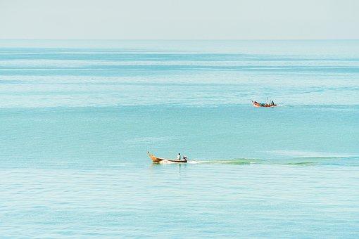 Sea, Boats, Fishermen, Water, Ocean, Sky, Blue, Nature