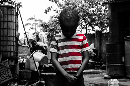 Kid, Child, Sad, Red, Stripe, Shirt, Boy, Black, Young