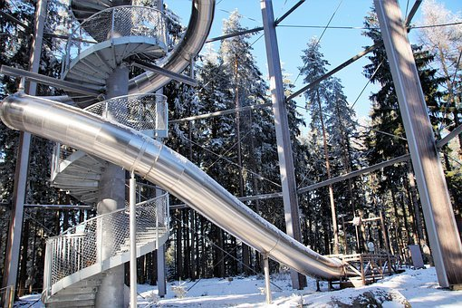 Trail Treetops, Lookout, Tube, Pipe, Slide, Spiral