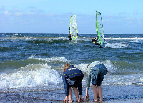 Water, Waves, Beach, Windsurfer, Surfer, Children, Boys