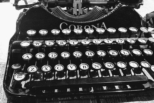Typewriter, Old, Corona, Typing