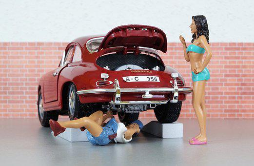 Model Car, Auto, Porsche, Porsche 356, Car Breakdown