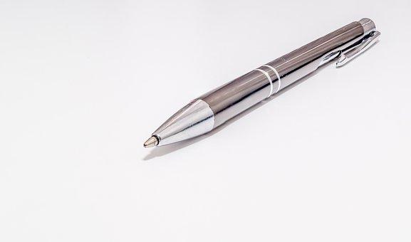 Ball-point Pen, Pen, Ink Pen, Write, Silver Pen