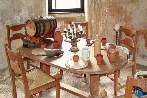 Middle Ages, Banquet, Round Table, Knight, Wine, Barrel