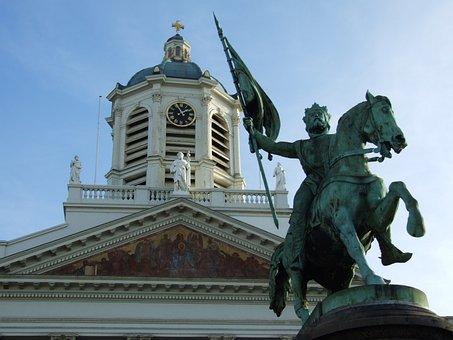 Royal Plaza, Belgium, Statue, Street, Heart Of The City