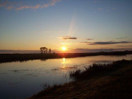 River, Biebrza, Sunrise, Landscape, Poland, Nature