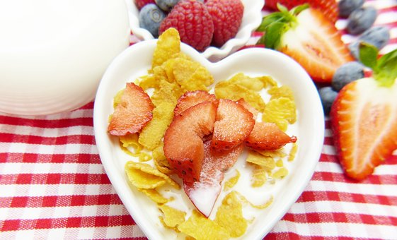 Cornflakes, Milk, Fruit, Fruits, Muesli, Strawberries