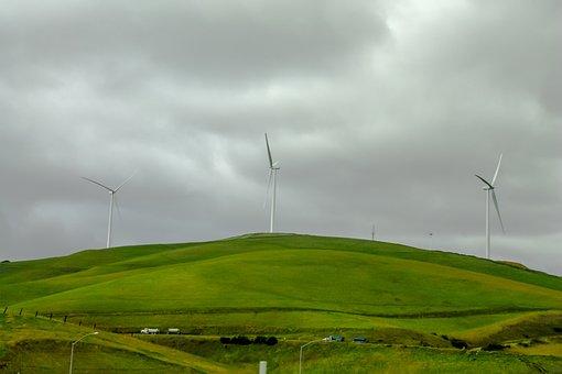 Wind Mills, Hills, Mill, Sky, Nature, Landscape, Wind