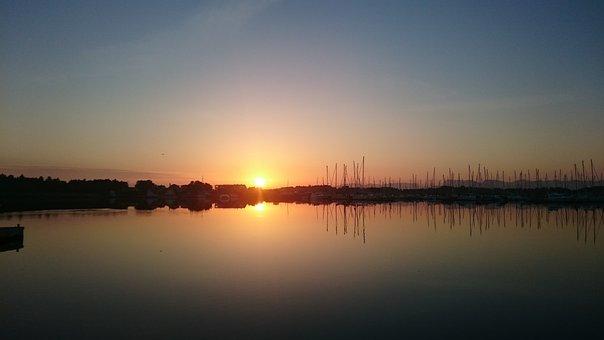 Sunrise, Marina, Hundvåg, Norway, Summer Morning