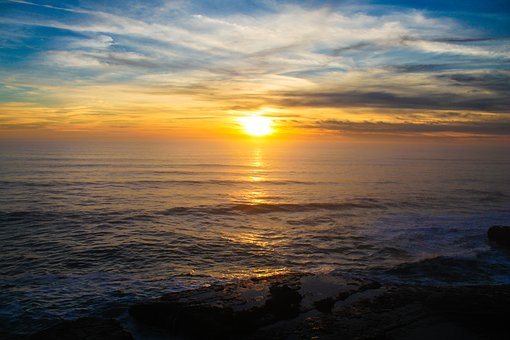 Sunset, Pacific Ocean, California, Usa, Ocean, Pacific