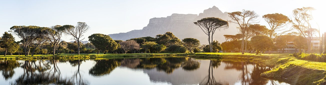 Panorama, Cape Town, Golf Course, Pond, Reflection