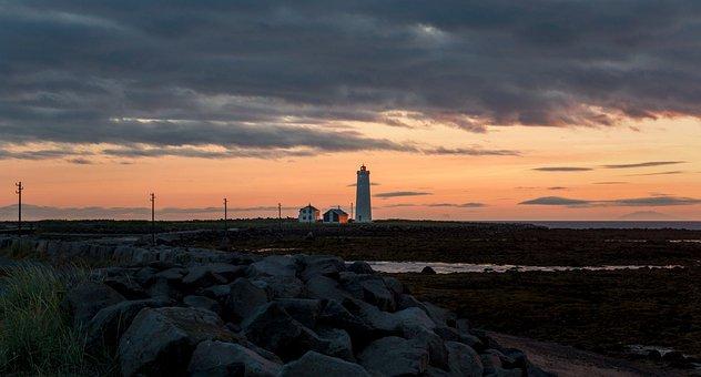 Lighthouse, Abendstimmung, Iceland, Sunset, Reykjavik