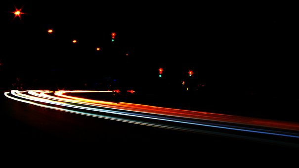 Long Exposure, Road, Night, Evening, Blue, Red, White