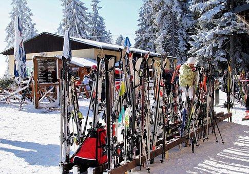 Ski Areal, Ski, Stand With Skis, Skiing Area, Pause