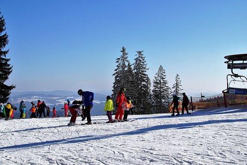 Ski Areal, Skiing Area, Winter, Snow, Skiers, Skiing