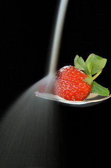 Strawberry, Sugar, Spoon, Food, Power Supply, Fruit