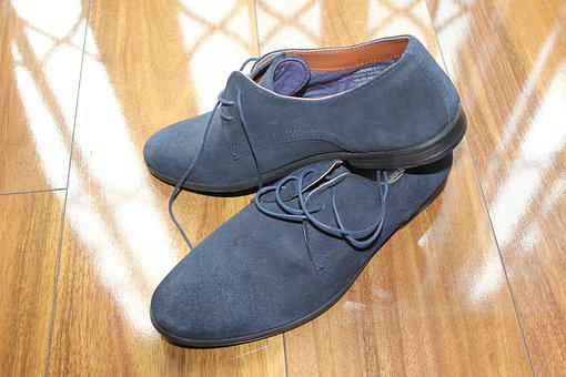 Shoes, Blue, Suede