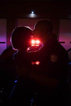 Kiss, Police, Cruiser, Woman, Kissing, Love, Girl