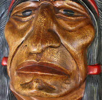 Wood Face, Indian, Wood, Culture, Head, Nature, Ethnic