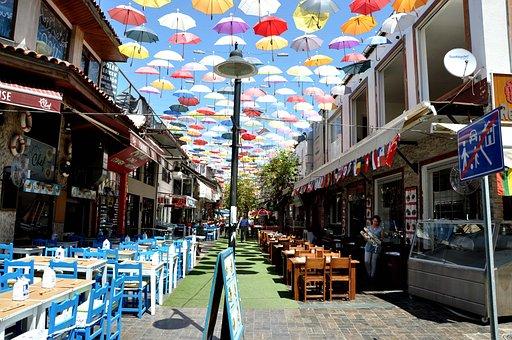 Summer, City, Pedestrian Zone, Decorated, Antalya