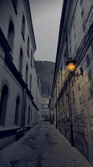 Lantern, City, Narrow Street, Night, Brasov, Mountain