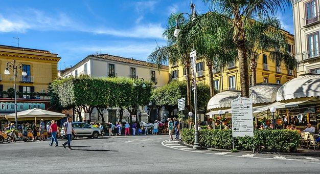 Sorrento, Street, Cafe, Sidewalk, Italy, Italian