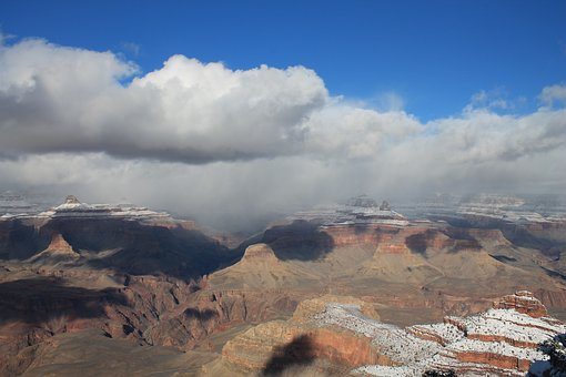 Grand Canyon, Winter, Canyon, Snow, Park, Landscape