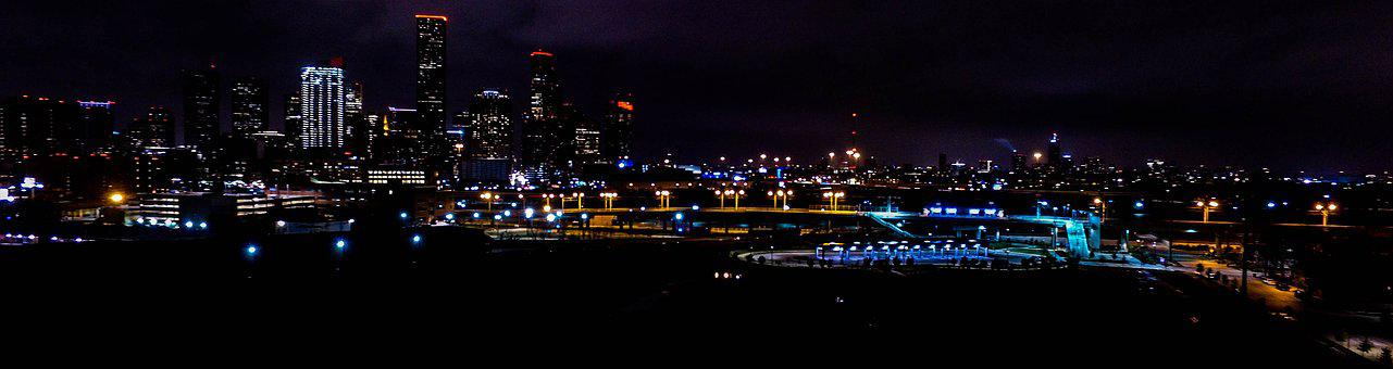 Houston, Downtown, Night Time, Aerial Photography