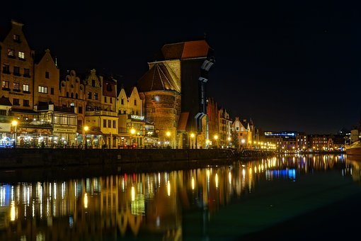 Gdańsk, Night, Crane, Evening, Street, The Old Town
