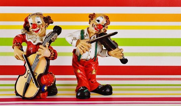 Clowns, Funny, Musician, Figures, Fun, Music