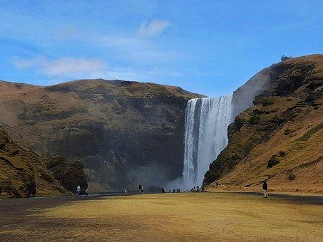 Skogafoss, Iceland, Waterfall, Clear Sky, Enchanting