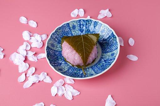 Sakuramochi, Japanese-style Confection, Pink