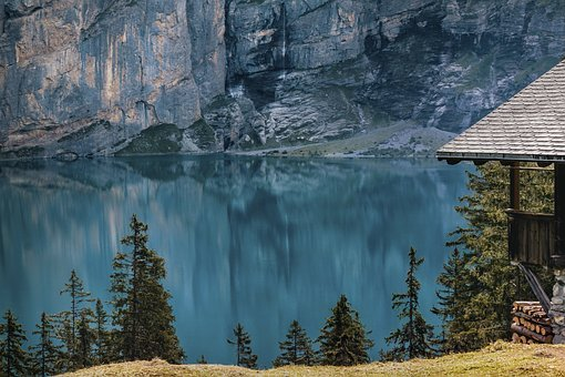 Lake Oeschinen, Bergsee, Hut, Rock, Water, Lake, Wood