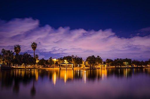 Nature, Purple Sunset, Desert Breeze, Evening Lake