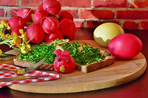 Bread, Chives, Radishes, Radieserl, Radi, Egg