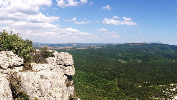 Crimea, View From The Hill, Mountains, Rock, Breakage
