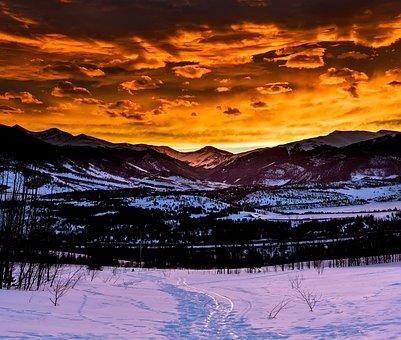 Colorado, Mountains, Sky, Clouds, Sunset, Dusk