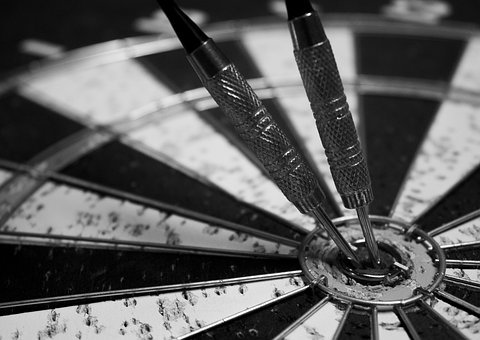 Dart, Board, Game, Black And White, Target, Sport