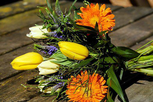 Spring Flowers, Bouquet, Flowers, Tulips, Yellow, Cream